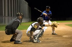 Player-coach Jason Hogan was 1-1 with a single and two walks on Tuesday night.
