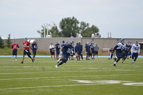Toronto Argonauts slotback Andre Durie (32) practiced on Tuesday for the first time since breaking his clavicle in week two.
