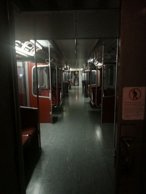 passengers waiting in the dark on the ttc as subway