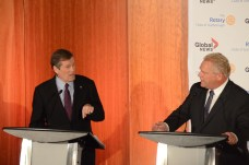 Tory and Ford exchanging heated words.