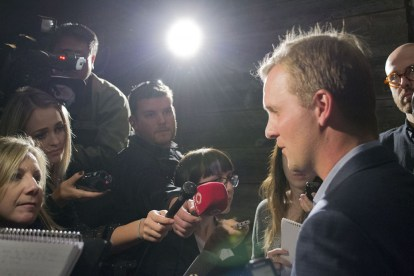 Cressy in a media scrum right after he steps off the stage