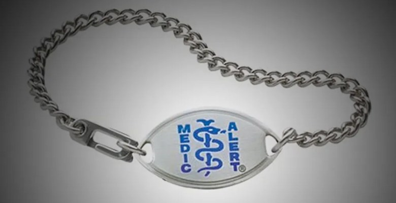 Blue MedicAlert bracelet