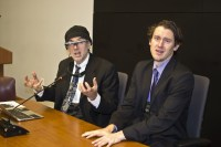 Professor Steven Mann and researcher Ryan Janzen present at conference room at Toronto Police headquarters