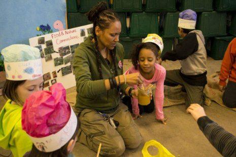 Children sampled fresh honey during nature seminar
