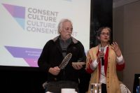 Annie Smith St-Georges and her partner of 43 years Robert St-Georges performs a traditional aboriginal ceremony.