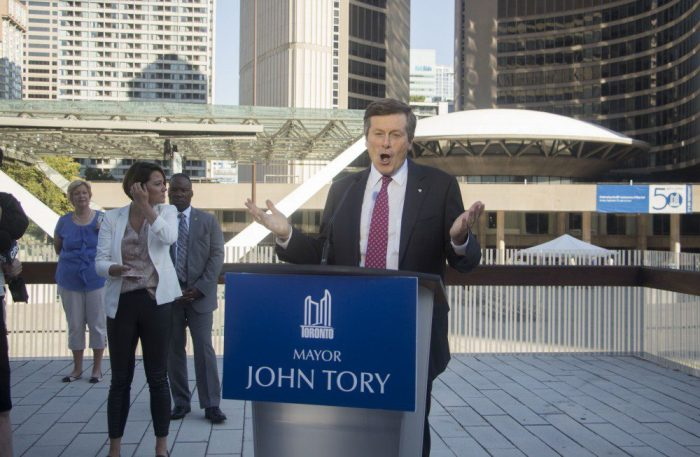 "Toronto mayor John Tory puts his foot down at City Hall on Tuesday - with a big ""NO"" to the 2024 Olympic bid."