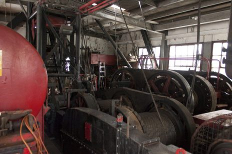 Inside the Derrick 50 engines power the crane.