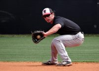 Preston shows off his impressive fielding ability during team practice in Tampa, Fla.