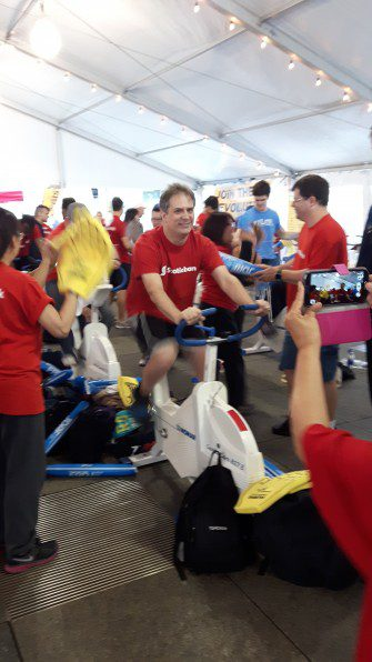 A volunteer from Scotiabank participating in the JDRF Revolution Ride on Friday September 30.