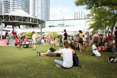 Showgoers enjoy live music at Harbourfront.