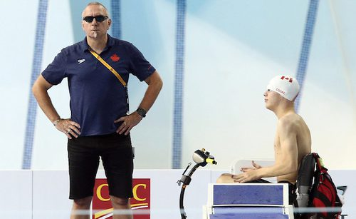 Toronto, Ontario, August 9, 2015. Head coach Craig McCord with Andrew Cooke during the 2015 Parapan Am Games . Photo Scott Grant/Canadian Paralympic Committee
