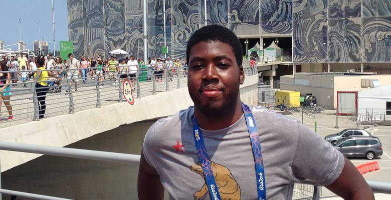 Tristan Garnett outside the Aquatic Olympic Stadium in Rio