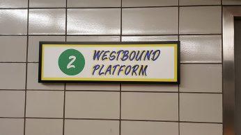 Westbound platform sign