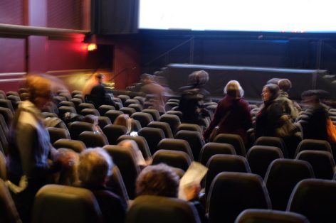 Seats filled up at the Hot Docs Cinema Election night viewing party.