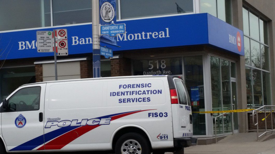 Toronto Police forensic van outside bank
