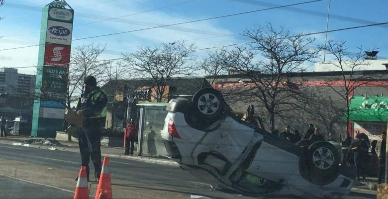 Vehicle flipped upside down