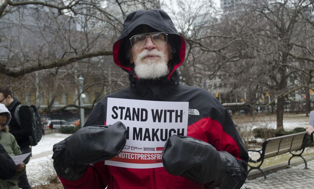 John Liss stands outside of Osgoode Hall in support of Ben Makuch