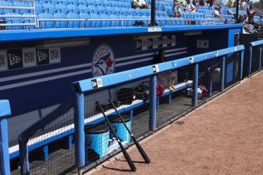 The bats lay patiently against the Blue Jays dugout, and wait for their game to begin.(Matt Teague photo)