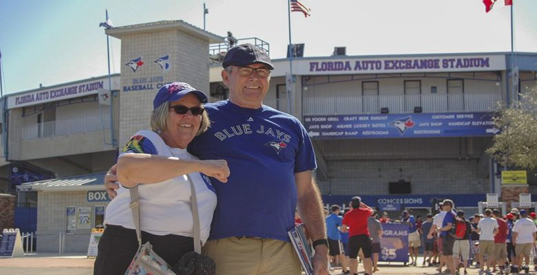 Mr. and Mrs. Brenton from Brantford outside Florida Auto Exchange Stadium