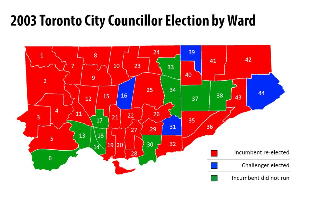map of 2003 Toronto municipal election results