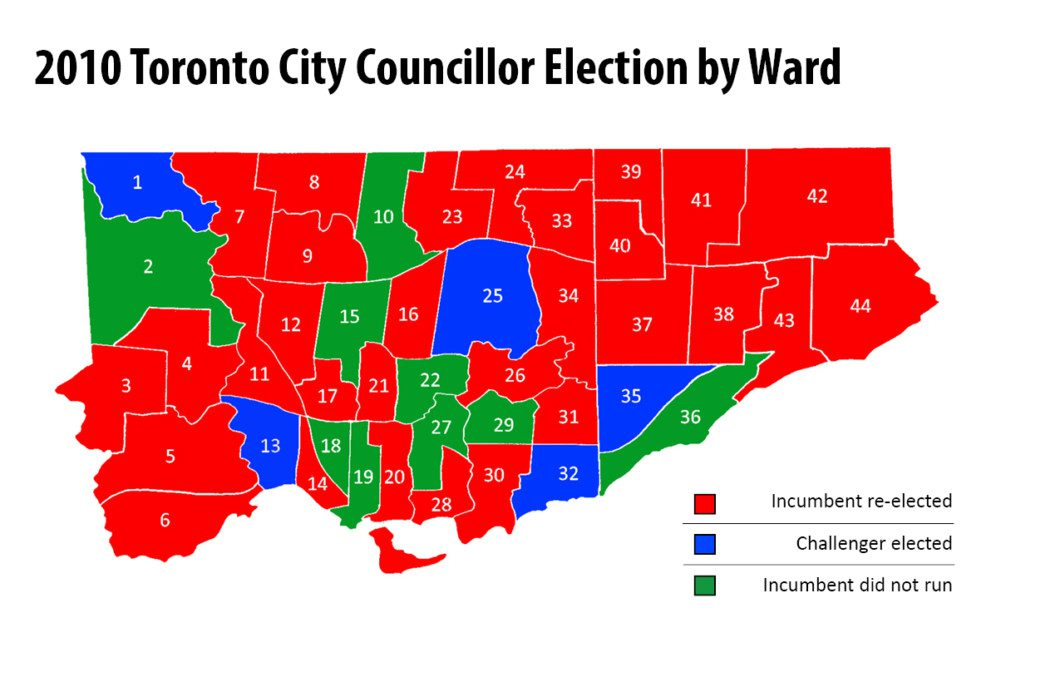 map of 2010 Toronto municipal election results