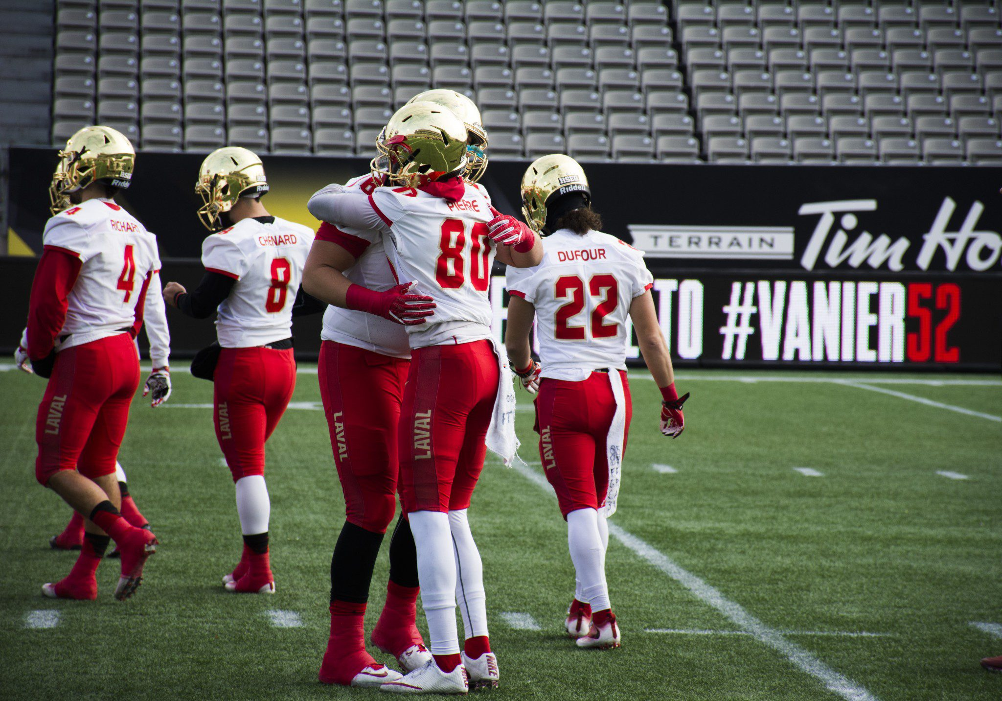Laval players hugging