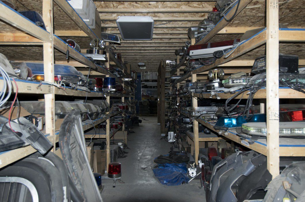 shelves of parts and props