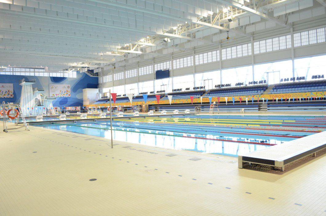swimming pool inside Pan Am pool building