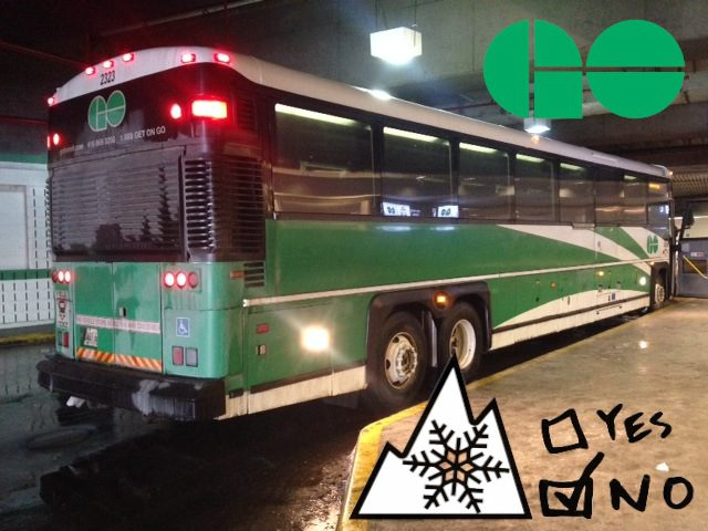 GO bus - no snow tires