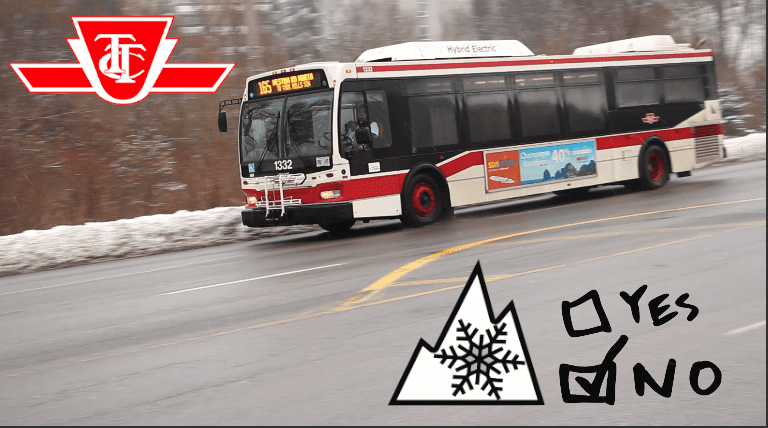 TTC bus - no snow tires
