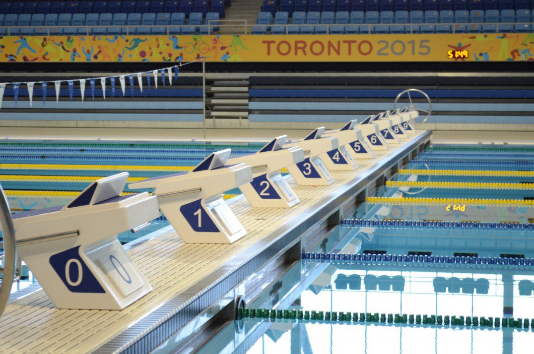 swimming lanes inside Pan Am pool building