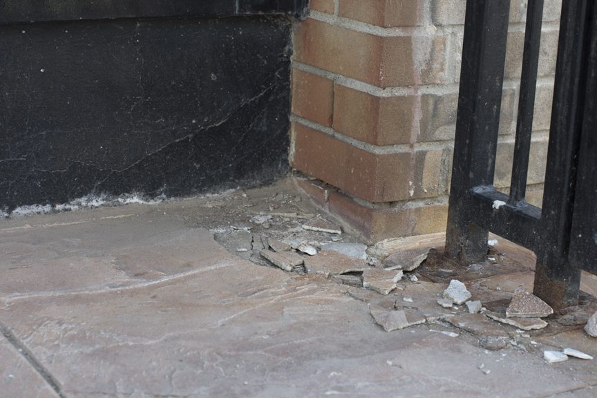 chipped exterior flooring
