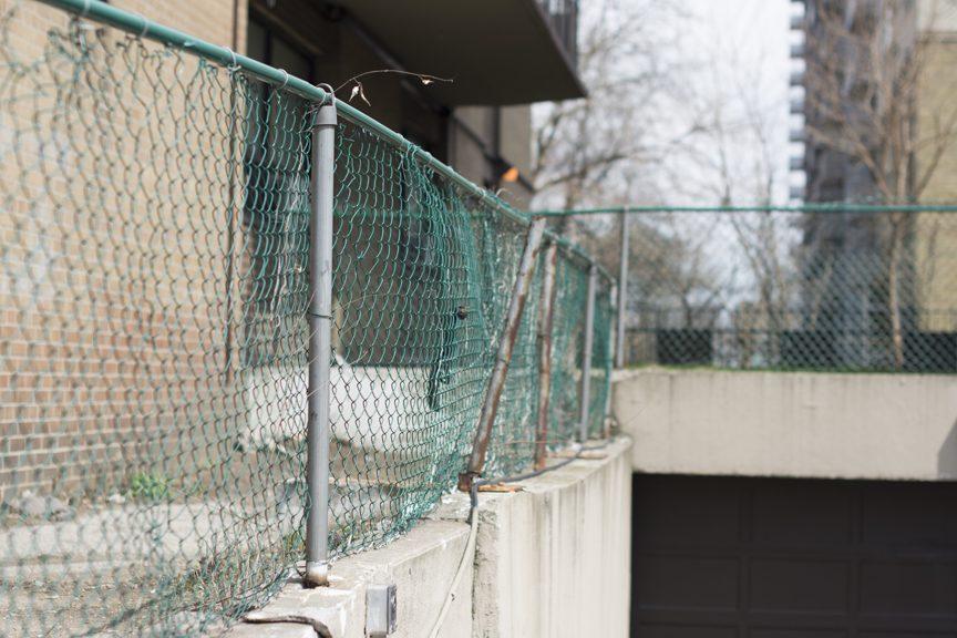 damaged chainlink fence