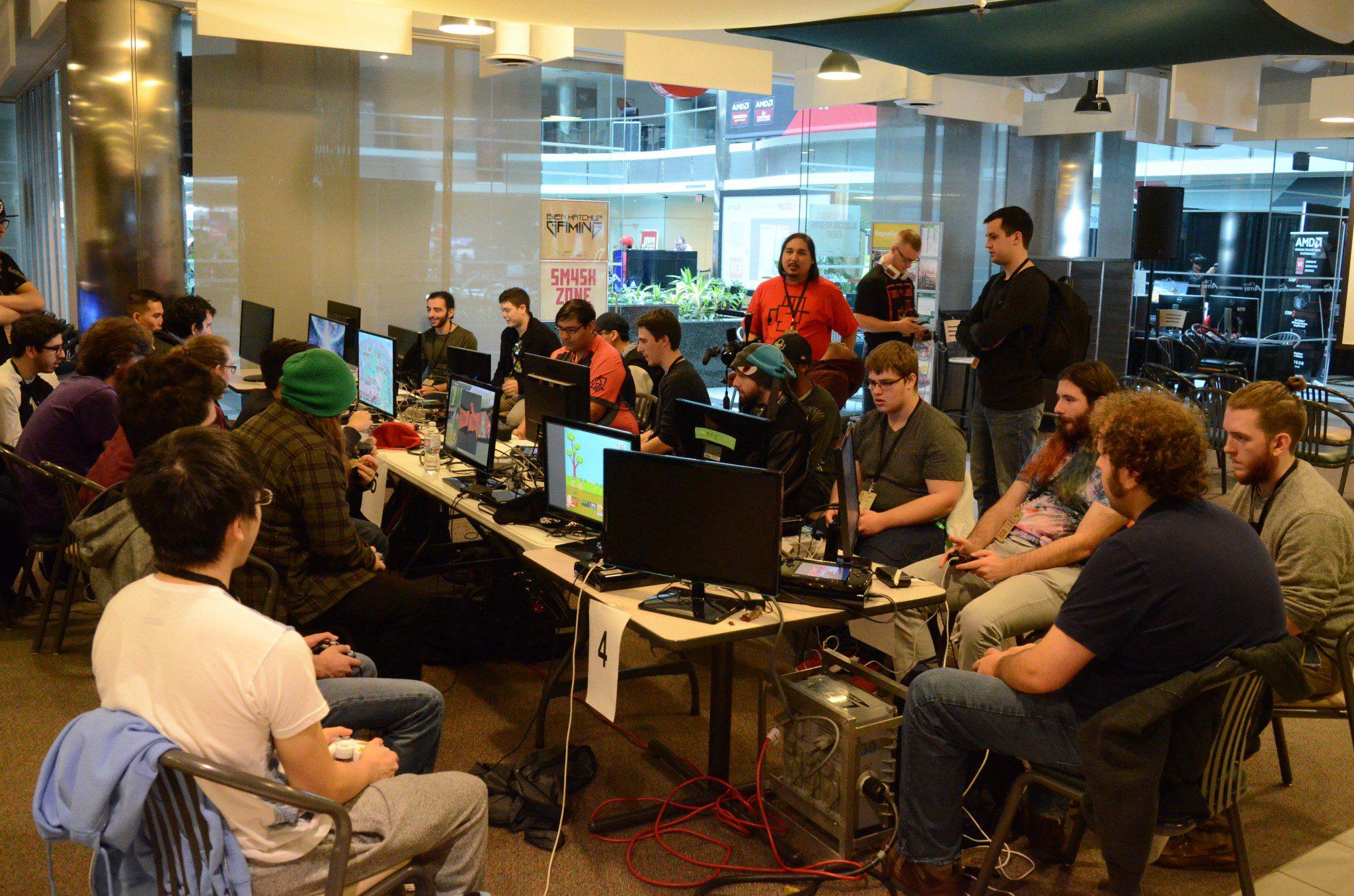 room full of video gamers