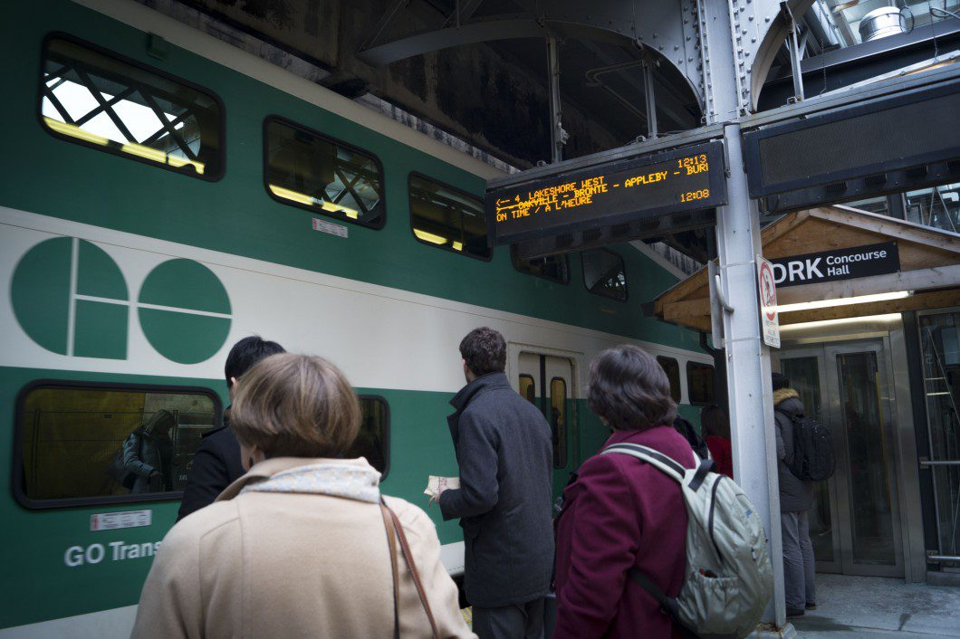 People using the GO train