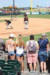 fans watching baseball game