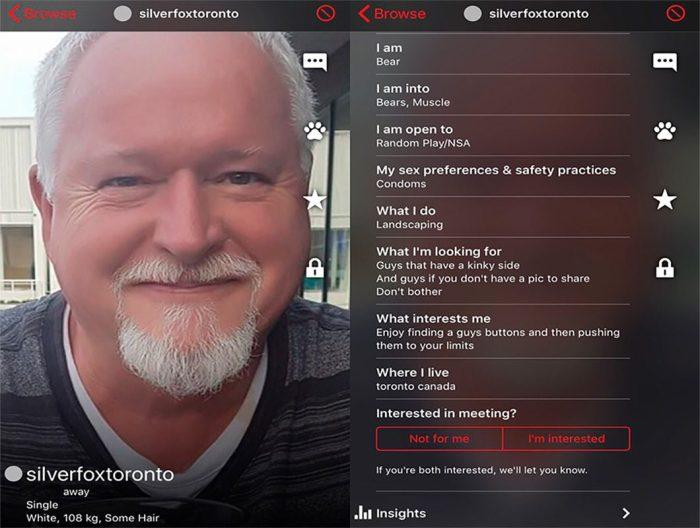 Bruce McArthur's Scruff profile
