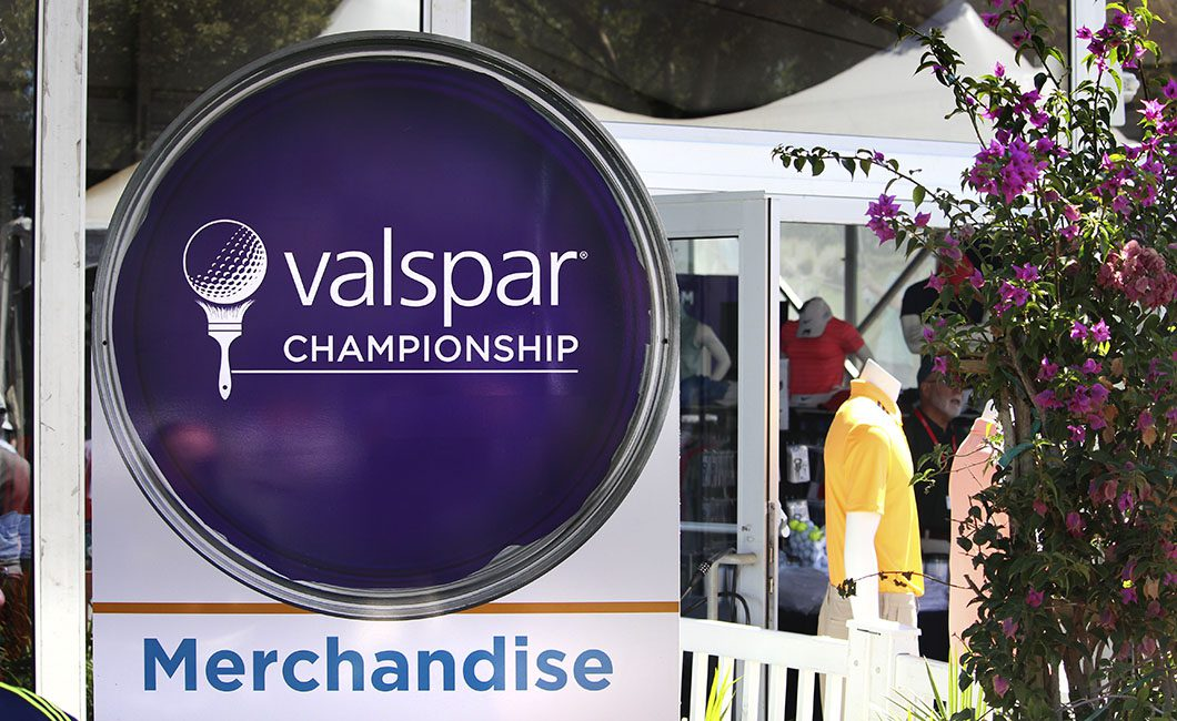 The merchandise sign at the Valspar Championship