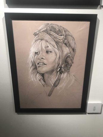 A sketch of pop star Rihanna created by Renee Moulelis
