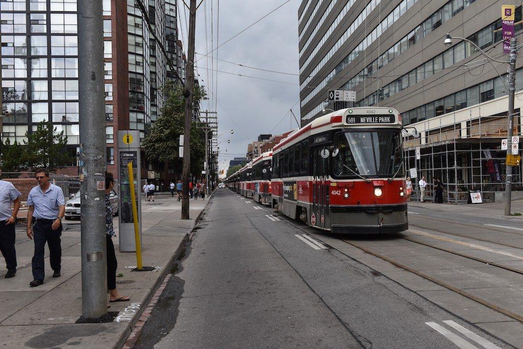 Massive Backup Of Streetcars