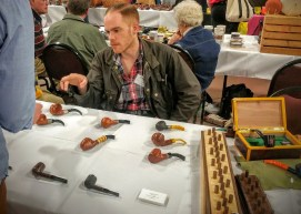 Toronto pipemaker Palmer Jarvis at his table.