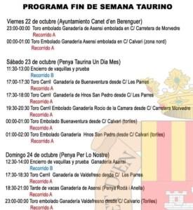 TOROS CANET D'EN BERENGUER 22 AL 24 OCTUBRE 2021