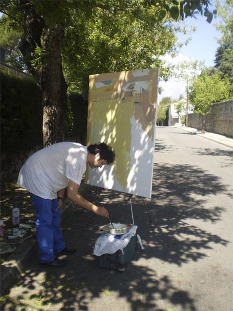 Artistas por lasPintores en las calles de Torrelodones en el Concurso de Pintura en Directo Rafael Botí