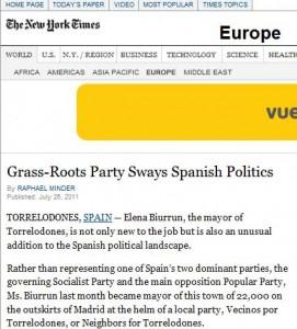 """Política de Torrelodones en """"Te New York Times"""""""