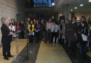 Gran cantidad de público acudió a inauguración de la exposición de José Miguel Palacio