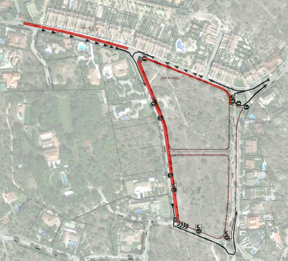 Plano de cortes de tráfico y restricciones de aparcamiento por obras en Las Marías de Torrelodones