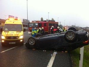 En la foto se puede ver el potente BMW accidentado