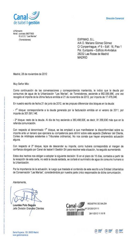 Carta del Canal de Isabel II emplazando a pagar la deuda de Las Marías (Fuente: Ayuntamiento de Torrelodones)