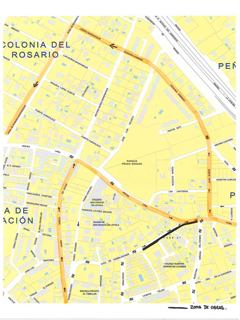 Plano del Consorcio donde se indica donde van a estar las paradas durante el corte de 4 semanas en Torrelodones