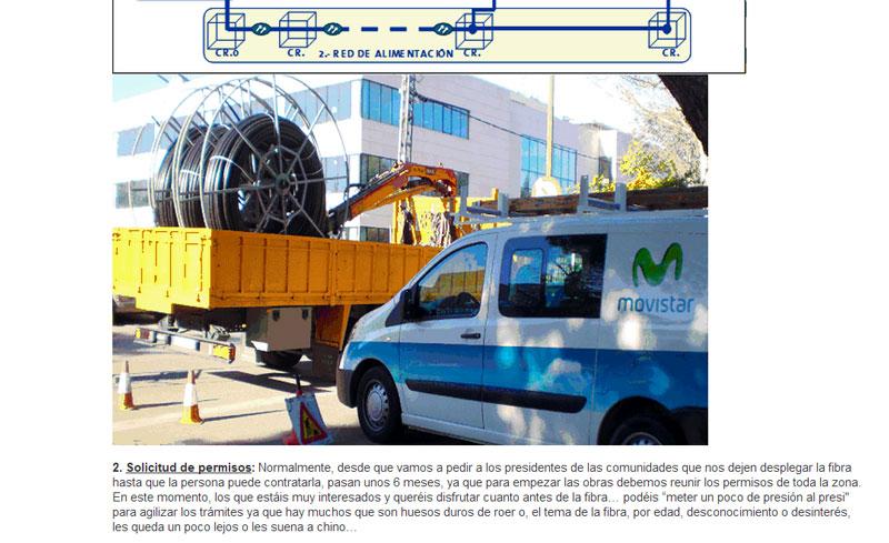 Una vez que la zona ha sido confirmada en el plan de despliegue de fibra óptica, entre que se obtienen los permisos y se puede contratar el servicio, pasan unos 6 meses, según Movistar.